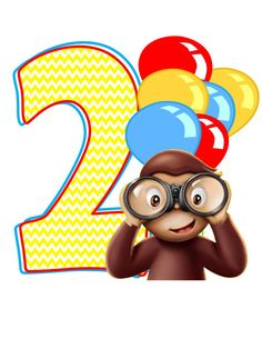Instant Download, Curious George InspiredT-shirt Transfer, Curious George Party Ideas, Age 2 Only on Etsy, $3.00