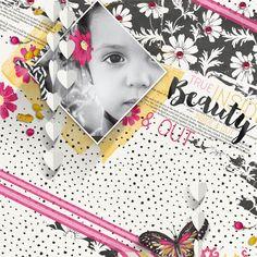 """""""Beauty"""" digital scrapbooking layout by Brandy Murry"""