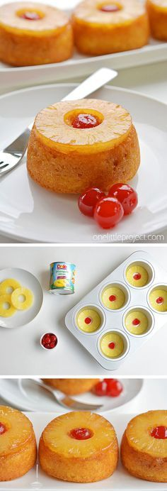These Mini Pineapple Upside Down Cakes Are So Pretty And ; diese mini ananas upside down cakes sind so schön und These Mini Pineapple Upside Down Cakes Are So Pretty And ; Mini Desserts, Delicious Desserts, Yummy Food, Easy Desserts To Make, Simple Dessert Recipes, Egg Desserts, Easy Desert Recipes, Mexican Desserts, Greek Desserts