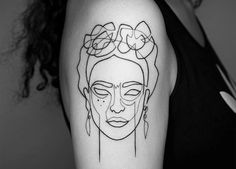 frida kahlo continuous line tattoo by mo ganji