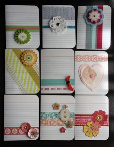I love using index cards for craft projects. They're multifunctional and impart a sense of whimsy 'old-school' to the finished work. Here are some of the ways I've altered index cards. Project Life Karten, Project Life Cards, Project Life Layouts, Project Ideas, Cute Cards, Diy Cards, Washi Tape Cards, Washi Tapes, Stampin Up