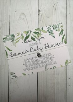 Botanical Greenery Wish Bracelet - Perfect Baby Shower Favour / Favor - Personalised/Personalized Baby Shower Gift
