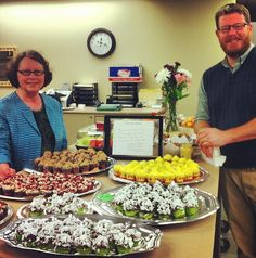 To show her appreciation for the Nancy Guinn Memorial Library staff, library Trustee, Mrs. Delores Baker, whipped up some fabulous cupcakes :)  Thank you SO much, Delores ~ they were delicious & you are amazing!! (Pictured with Ben Carter, Director) #NationalLibraryWorkersDay #ConyersRockdaleLibrary #NancyGuinnLibrary | www.conyersrockdalelibrary.org
