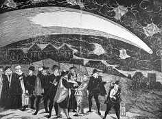 Woodcut by Jiri Daschitzsky, Von einem Schrecklichen und Wunderbahrlichen Cometen so sich den Dienstag nach Martini M. D. Lxxvij. Jahrs am Himmel erzeiget hat (Prague (?): Petrus Codicillus a Tulechova, 1577