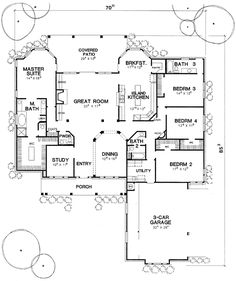 First Floor Plan of Country   European   House Plan 67403