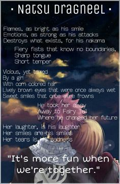 NaLu Poem I love this so much! Fairy Tail Nalu, Fairy Tail Lucy, Fairy Tail Ships, Fairy Tail Family, Fairy Tail Guild, Fairy Tail Couples, Fairytail, Gruvia, Fairy Tail Quotes