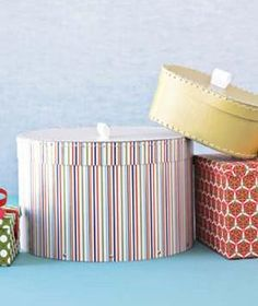 Circular boxes are great for odd-shaped presents like stuffed animals, bags, and dishware. - Creative Gift Wrapping Ideas | Real Simple