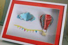 Framed 3D Hot Air Balloon Nursery Art Children's 3D by finnstree