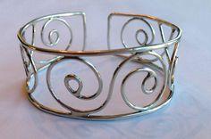 Sterling Spiral Design Cuff Bracelet by Bybella on Etsy, $78.00 #Bybella