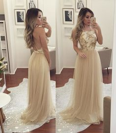 Beading Spaghetti Straps Backless Tulle Prom Dresses 2017