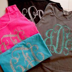 Glitter monogrammed tank, comfort colors tank. Monogram Tank, Monogram Logo, Comfort Colors, Summer Tank Tops, Beach Shirts, Sorority Shirts, Graphic Shirts, Vinyl Designs, Sally Ann