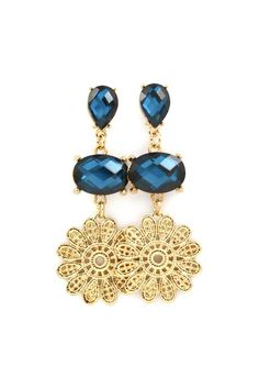 Lacy Earrings with Sapphire Rhinestones |Jewelry - Daily Deals|