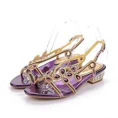 f89c1352a7b64 Geminigirl Womens Low Block Heel Diamante Jewelled Slingback Sandals Shoes  Purple 6 M US -- To view further for this item