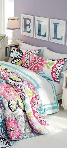 The framed Letters are cute. Teen Girl Bedding, Teen Bedroom, Bedroom Sets, Bedroom Decor, Little Girl Beds, Bed For Girls Room, Little Girl Rooms, Teen Room Designs, Bedding Inspiration