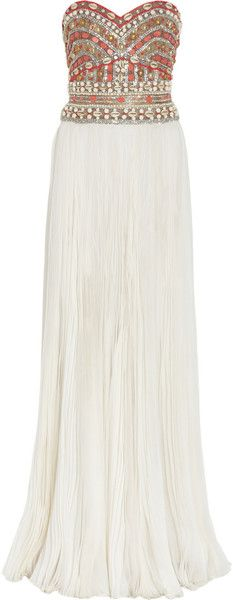 Marchesa Embellished Strapless Silk Gown - Lyst
