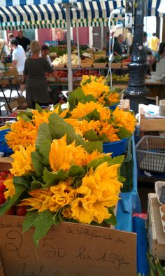 Le marché à Nice :-) fleurs de courgettes à farcir