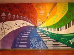 """Képtalálat a következőre: """"high school murals"""" Mural Art, Wall Murals, School Murals, School Hallways, Middle School Art, High School, Music Classroom, Classroom Door, Collaborative Art"""