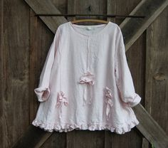 linen top with pin tucks flowers and ties in light pink ready