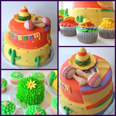 Fiesta cake, cupcakes and smash cake. With Cactus, sombreros, maracas