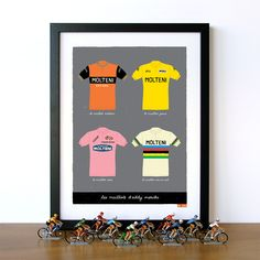 Bike Art Print, Classic Eddy Merckx Cycling Jerseys, Tour de France, Giro d'Italia