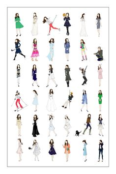 This listing is for 1 poster. (actual poster pictured in second image) 18x24  This poster contains 36 unique drawings of Kate Middleton, Duchess of