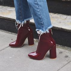 Our LEVEL UP heeled women& burgundy patent ankle boots have a back zip fa., Ur LEVEL UP heeled women& burgundy patent ankle boots have a back zip fa. Ur LEVEL UP heeled women& burgundy patent ankle boots have a. Look Fashion, Fashion Shoes, Womens Fashion, Fashion Ideas, 90s Fashion, Fashion Clothes, Adidas Fashion, Fashion Images, Fashion 2018