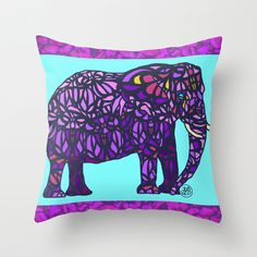 Purple Elephant Throw Pillow by ArtLovePassion - $20.00