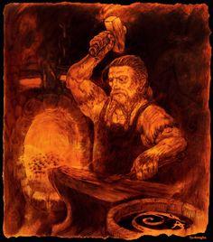 Blacksmithing, Illustration Art, Statue, Painting, Blacksmith Shop, Painting Art, Paintings, Sculpture, Sculptures