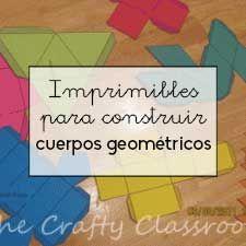 Con estos imprimibles los estudiantes podrán construir cuerpos geométricos y descubrirán sus principales elementos mientras los fabrican.