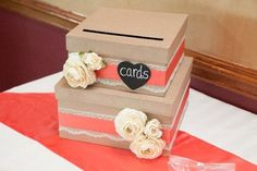 "tan & coral card box   top tier is 10""x10"" bottom tier is 12""x12""   in Darien, IL - local pickup or shipping available"