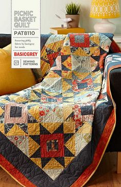 Picnic Basket Quilt Pattern....I like the use of black