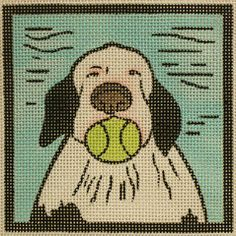 Maggie # M-1499 | © Paris Bottman |  Dog with Ball | 18 mesh, 4 x 4