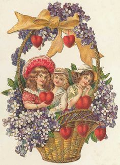 Victorian basket ~ Vintage Ephemera
