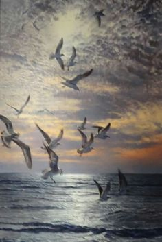 Gulf Evening, 2014 by Matthew Hillier. Seagulls Flying, Animal Paintings, Fine Art Photography, Sculptures, Art Gallery, Birds, Drawings, Nature, Prints