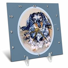 Dogs Dachshund  Long Hair Dapple Dachshund  6x6 Desk Clock dc_596_1 * You can find out more details at the link of the image.