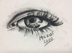 Ilustración de un ojo , dibujo, carboncillo, meziatcoco, arte