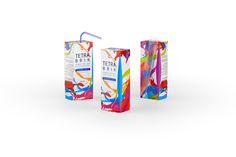 Tetra Brik Slim Leaf 200ml Straw juice packaging 3D model
