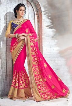 Marvellous Pink Embroidery Work Party Wear Saree