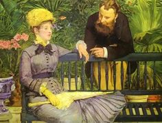 The conservatory - Edouard Manet. The man looks like Manet. I wonder if he painted himself into this picture.