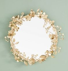 Mirrors - Add a whimsical look to your decor with this Paradiso large round wall mirror with floral details along the frame made of iron in a gold finish. Large Round Wall Mirror, Round Mirrors, Loft Interior Design, Unique Mirrors, Loft Interiors, Diy Mirror, Dresser Mirror, Flower Frame, Diy Home Decor