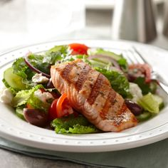Loaded with vitamin B12, protein and omega-3 fatty acids, this salad from Curtis Stone is the perfect high-energy lunch. For a chilled grilled salmon salad, grill the salmon four hours ahead of time and refrigerate.