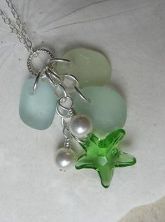 Sea Glass Necklace - Star of the Sea -  Blue and Green Sea Glass. $32.00, via Etsy.