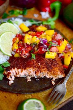 This salmon recipe is AWESOME! The spices are amazing. sweet and spicy, and the mango salsa is so refreshing! This salmon recipe is AWESOME! The spices are amazing. sweet and spicy, and the mango salsa is so refreshing! Salmon Dishes, Fish Dishes, Seafood Dishes, Meals With Salmon, Main Dishes, Spicy Salmon, Baked Salmon, Salmon With Mango Salsa, Healthy Recipes