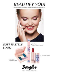 Douglas Make-up Soft Pastels Look bei douglas. Pastel Eyeshadow Palette, Mascara, Eyeliner, Soft Pastels, Make Up, Lipstick, Beauty, Collection, Eye Liner
