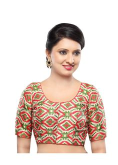 Designer Mehendi-Green Patola Front Open Ready-made Saree Blouse Choli SNT X-330-SL