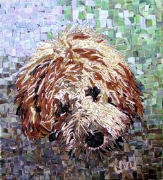 Stained Glass Mosaic Goldendoodle Golden Doodle by Jackiesglass