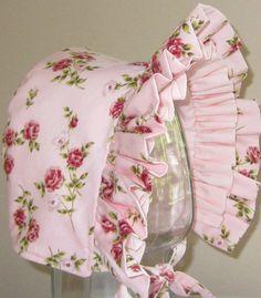 Baby Bonnet- Vintage Pink Roses- Baby Hat- Reversible. $20.00, via Etsy.