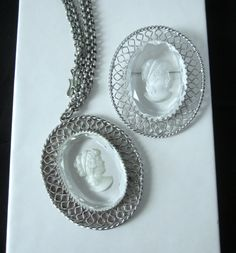 Whiting & Davis CAMEO BROOCH Pin NECKLACE Set Clear Glass Intaglio by jewelryannie on Etsy