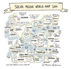 Social Media World Map 2014 and TOP list of social media sites