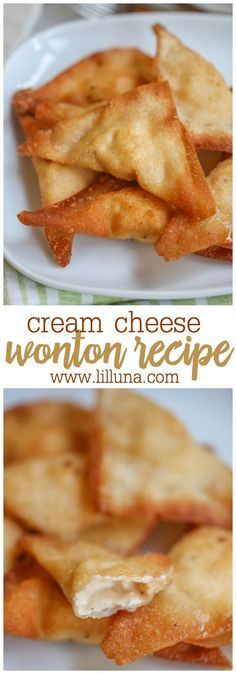 Delicious Cream Cheese Wontons recipe - a family favorite! { lilluna.com } Wonton wrappers filled with cream cheese, lemon and garlic pepper, & paprika & fried until crispy! The perfect appetizer with any Chinese recipe.
